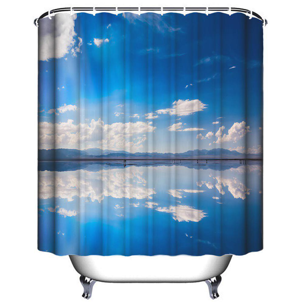 Sky Environment Bathroom Polyester Printed Waterproof Shower Curtain - SKY BLUE W59 INCH * L71 INCH