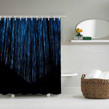Late Night Wood Bathroom Polyester Printed Waterproof Shower Curtain - MIDNIGHT BLUE W59 INCH * L71 INCH