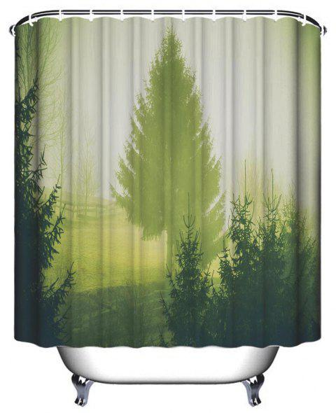 Pastoral Early Morning Bathroom Polyester Printed Waterproof Shower Curtain - PISTACHIO GREEN W59 INCH * L71 INCH