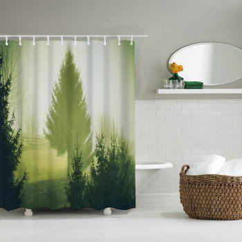 Pastoral Early Morning Bathroom Polyester Printed Waterproof Shower Curtain - PISTACHIO GREEN W71 INCH * L71 INCH