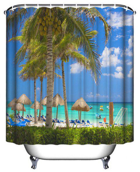 Seaside Resort Bathroom Polyester Printed Waterproof Shower Curtain - multicolor W71 INCH * L71 INCH