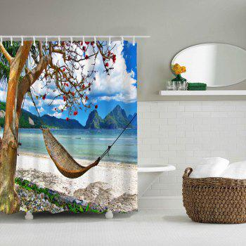 Seaside Hammock Bathroom Polyester Printed Waterproof Shower Curtain - multicolor W71 INCH * L71 INCH