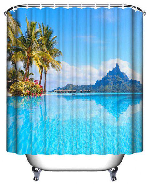 Island Resort Bathroom Polyester Printed Waterproof Shower Curtain - multicolor W59 INCH * L71 INCH