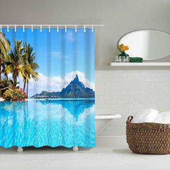Island Resort Bathroom Polyester Printed Waterproof Shower Curtain - multicolor W71 INCH * L71 INCH