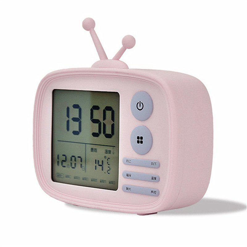 Retro TV Shape Alarm Clock - PINK