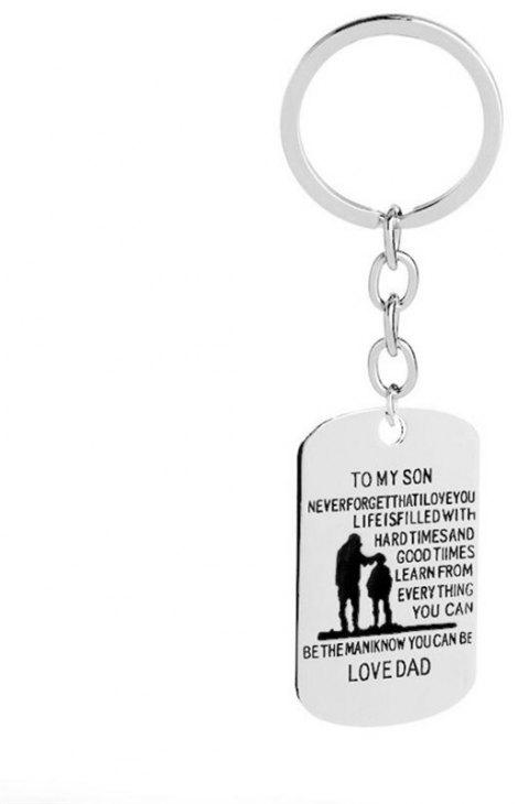 European and American Trends Alloy Father Day Gift Necklace Keychain - PLATINUM