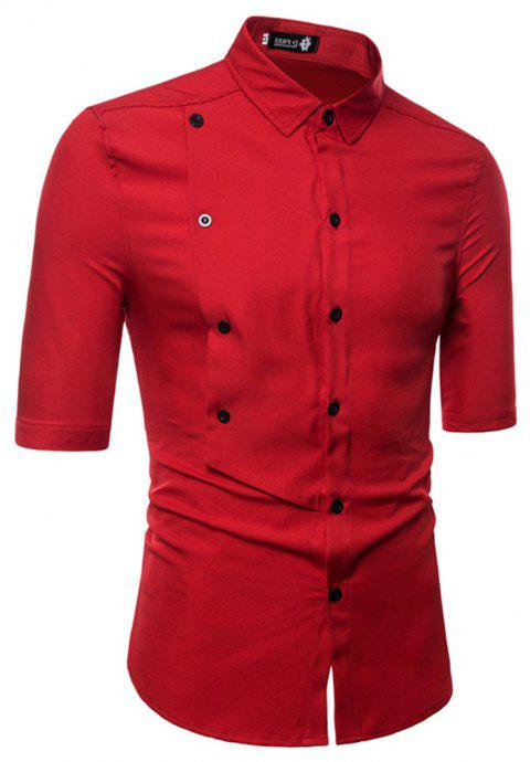 Men's Half Sleeve Double Breasted Short Sleeve Shirt - RED L