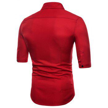 Men's Half Sleeve Double Breasted Short Sleeve Shirt - RED 2XL
