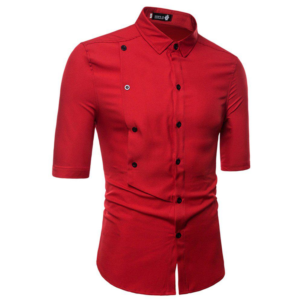 Men's Half Sleeve Double Breasted Short Sleeve Shirt - RED M