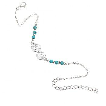 Bohemian Turquoise Beach Spiral Anklet - MEDIUM TURQUOISE