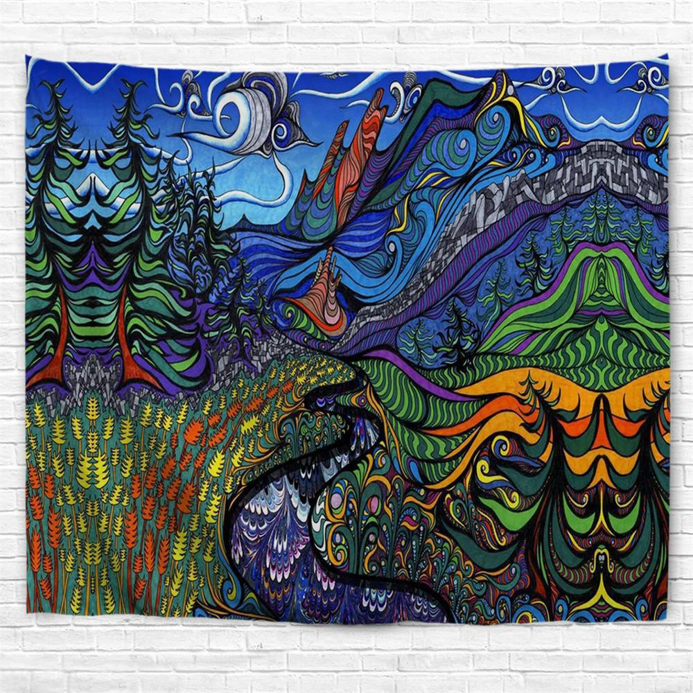 Abstract Pastoral Style 3D Printing Home Wall Hanging Tapestry for Decoration - multicolor A W230CMXL180CM