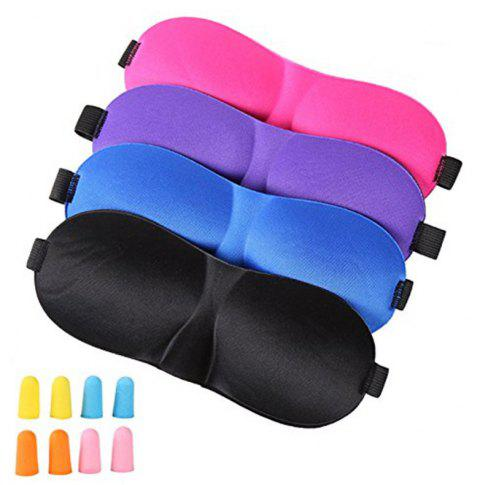 4Pcs Lightweight Comfortable Adjustable Eye Mask with 8 Pack Ear Plugs - multicolor A