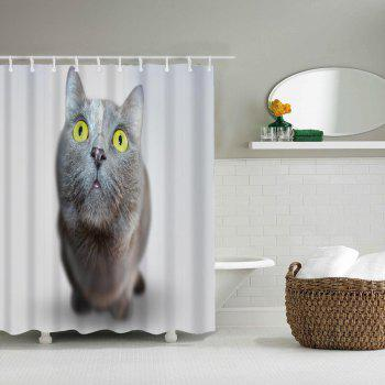 Cute Cat Bathroom Polyester Printing Waterproof Shower Curtain - LIGHT GRAY W71 INCH * L71 INCH