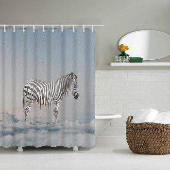 Heated Zebra Bathroom Polyester Printed Waterproof Shower Curtain - multicolor W71 INCH * L71 INCH