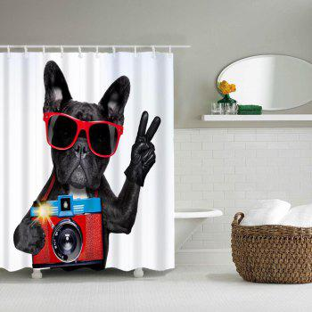 Dog Camera Bathroom Polyester Printed Waterproof Shower Curtain - multicolor W59 INCH * L71 INCH