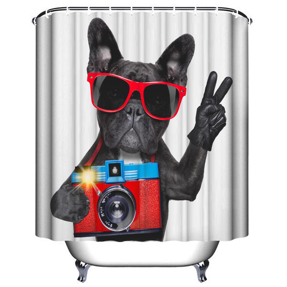 Dog Camera Bathroom Polyester Printed Waterproof Shower Curtain - multicolor W71 INCH * L71 INCH