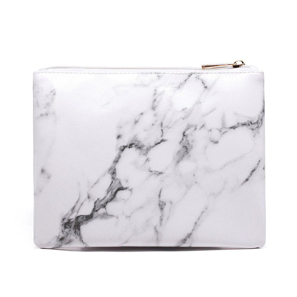 Nordic Marble Pattern Cosmetic Storage Bag - MILK WHITE SIZE L