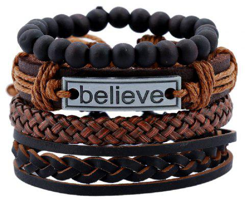 YEDUO 4 Pieces Beads Braided Leather Believe Charm Bracelet For Men - DEEP COFFEE