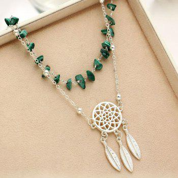 Fashion Hollow-Out Dreamcatcher Turquoise Pendant Beach Anklet - MEDIUM TURQUOISE