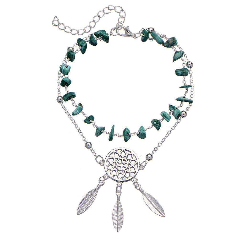 Fashion Hollow-Out Dreamcatcher turquoise pendentif plage cheville - Turquoise Moyenne