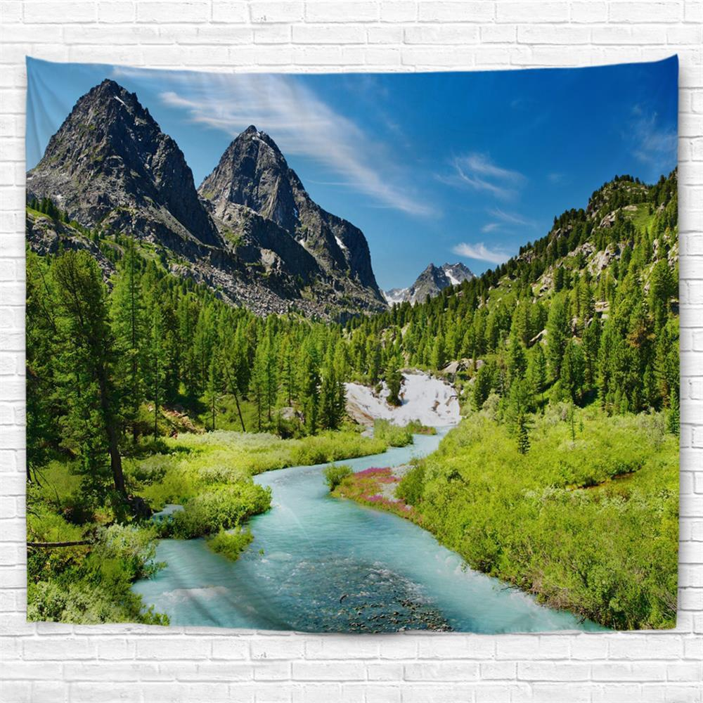 Mountain Landscape 3D Printing Home Wall Hanging Tapestry for Decoration - multicolor A W153CMXL130CM