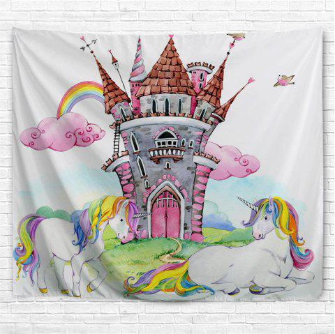 Castle Unicorn 3D Printing Home Wall Hanging Tapestry for Decoration - multicolor A W153CMXL102CM