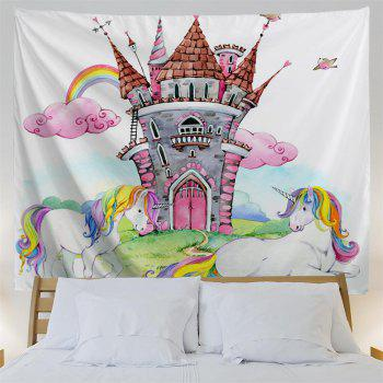 Castle Unicorn 3D Printing Home Wall Hanging Tapestry for Decoration - multicolor A W153CMXL130CM