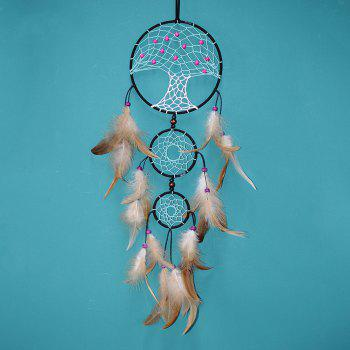 Indian Creative New Life Tree Dreamcatcher Feather Household Pendant - LIGHT BROWN