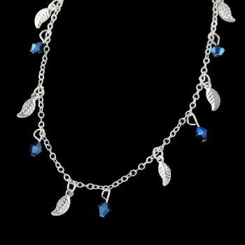Minimalism Metal Chain with Leaf Beads Anklets - SILVER