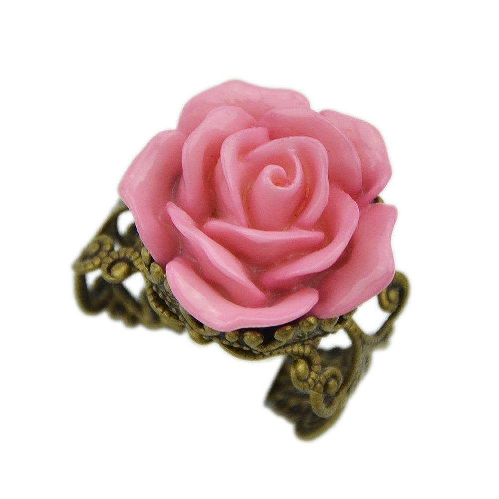 2018 Cute Rose Flower Wedding Adustable Rings PINK RESIZABLE In ...