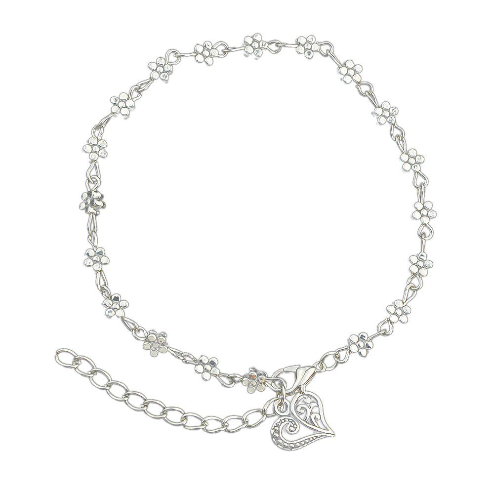 Silver Color Chain Flower Anklets with Heart - SILVER