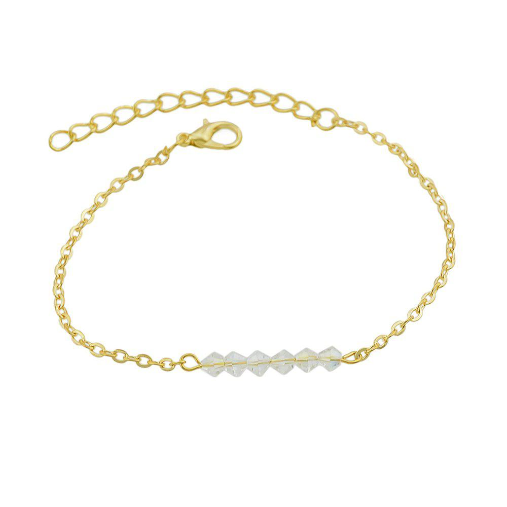 Gold-color Chain with Beads Geometric Minimalist Anklets - WHITE