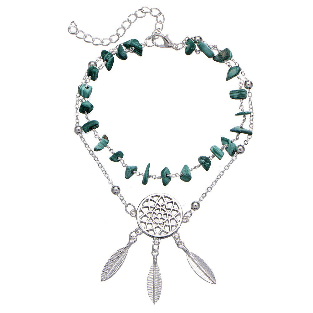Hollow Dream Catcher Turquoise Bracelet Feather Pendant Anklet - SILVER