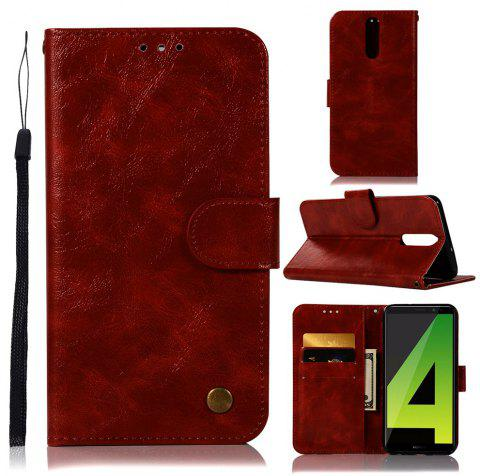 Flip Leather Case PU Wallet Case For Huawei Nova 2I / Huawei Mate 10 Lite Smart Cover Vintage Fashion Phone Bag with Stand - RED WINE