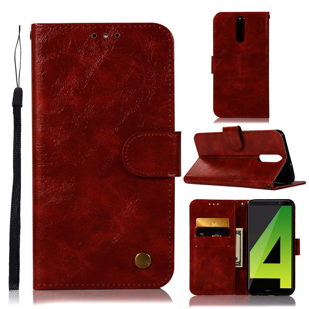Flip Leather Case PU Wallet Case For Huawei Nova 2I / Huawei Mate 10 Lite Smart Cover Retro Fashion Phone Bag with Stand - RED WINE
