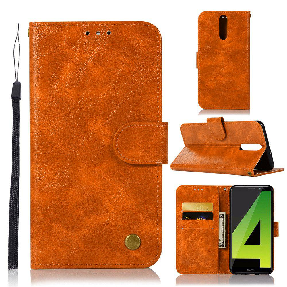Flip Leather Case PU Wallet Case For Huawei Nova 2I / Huawei Mate 10 Lite Smart Cover Retro Fashion Phone Bag with Stand - GOLDEN BROWN