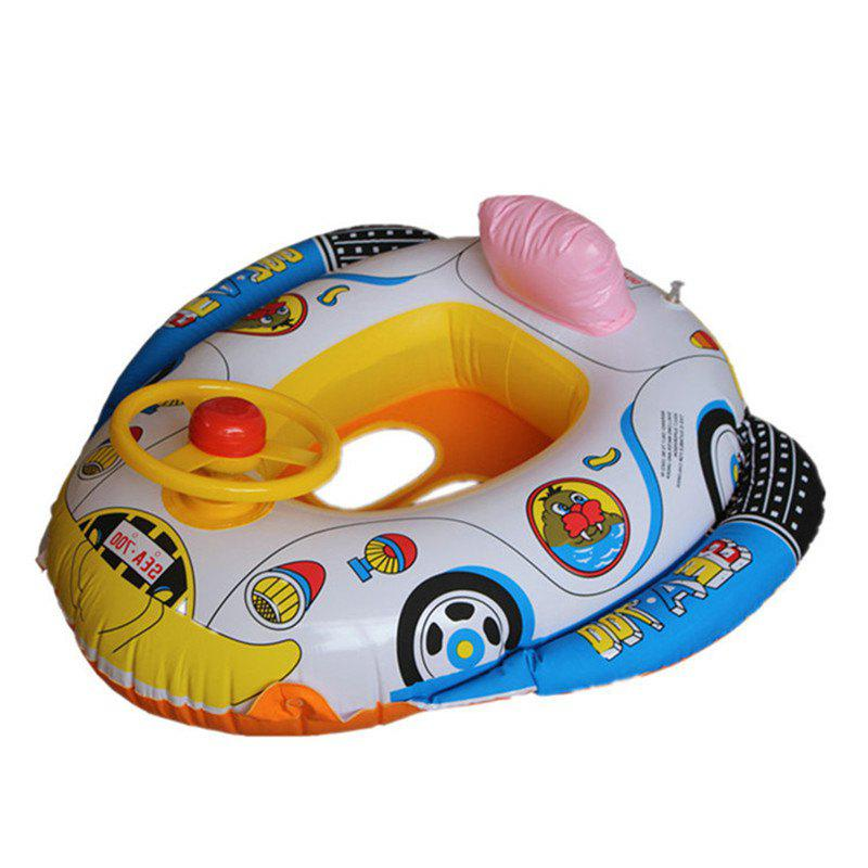 Inflatable Children Swimming Ring Seat Pool Floating Boat - multicolor