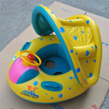 Infant Swimming Float Inflatable Adjustable Sunshade Seat Boat Ring Swim Pool - YELLOW