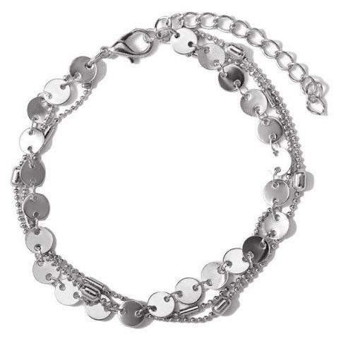 Summer Fashion Beach 3 Layers Sequinned Chain Anklet - SILVER