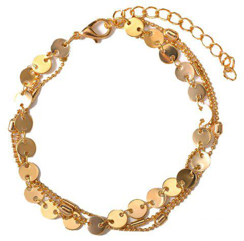 Summer Fashion Beach 3 Layers Sequinned Chain Anklet - GOLD