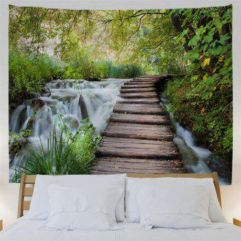 Wooden Bridge Stream 3D Printing Home Wall Hanging Tapestry for Decoration - multicolor W229CMXL153CM