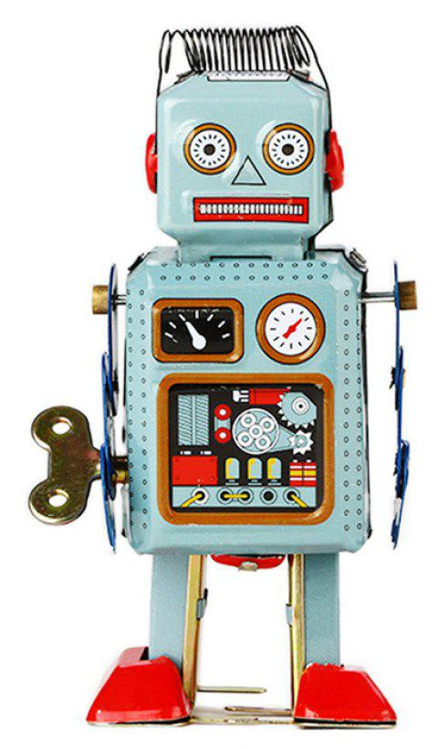 Mechanical Vintage Clockwork Wind Up Toys Walking Radar Robot Toy - multicolor