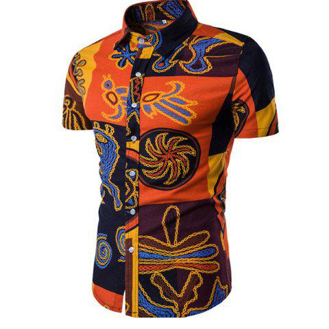 Men's Short Sleeves Printed Shirt - multicolor A M