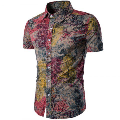Men's Short Sleeves Printed Shirt - multicolor C XL