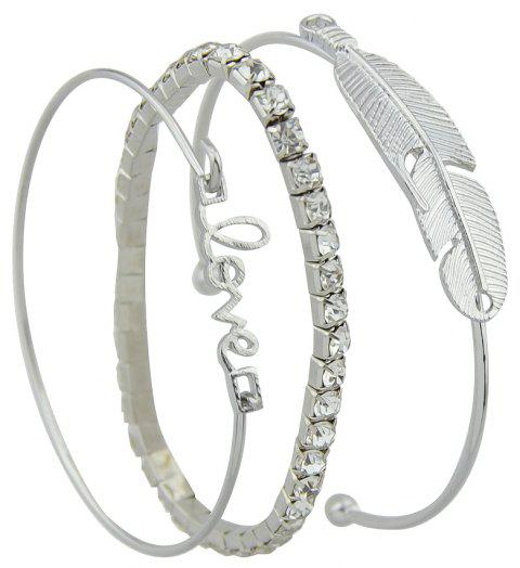 3pcs Silver Color with Rhinestone Feather Bracelet - SILVER