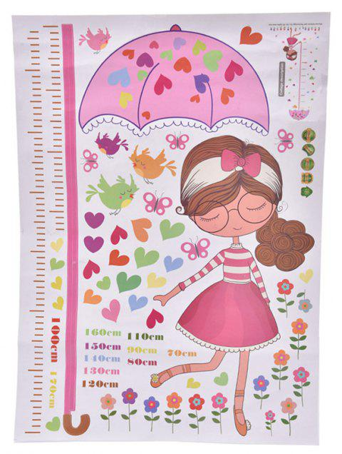 Kids Height Measure Wall Sticker Decor Cartoon Girl with Umbrella Pattern - multicolor