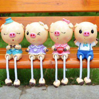 Resin Craft Pig Family Hanging Feet Doll Furnishings Cabinet Decoration 4PCS - multicolor