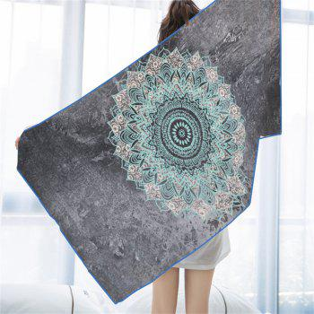 Blue Gray Mandala Microfiber Digitally Printed Rectangular Beach Towel - multicolor 75X150CM