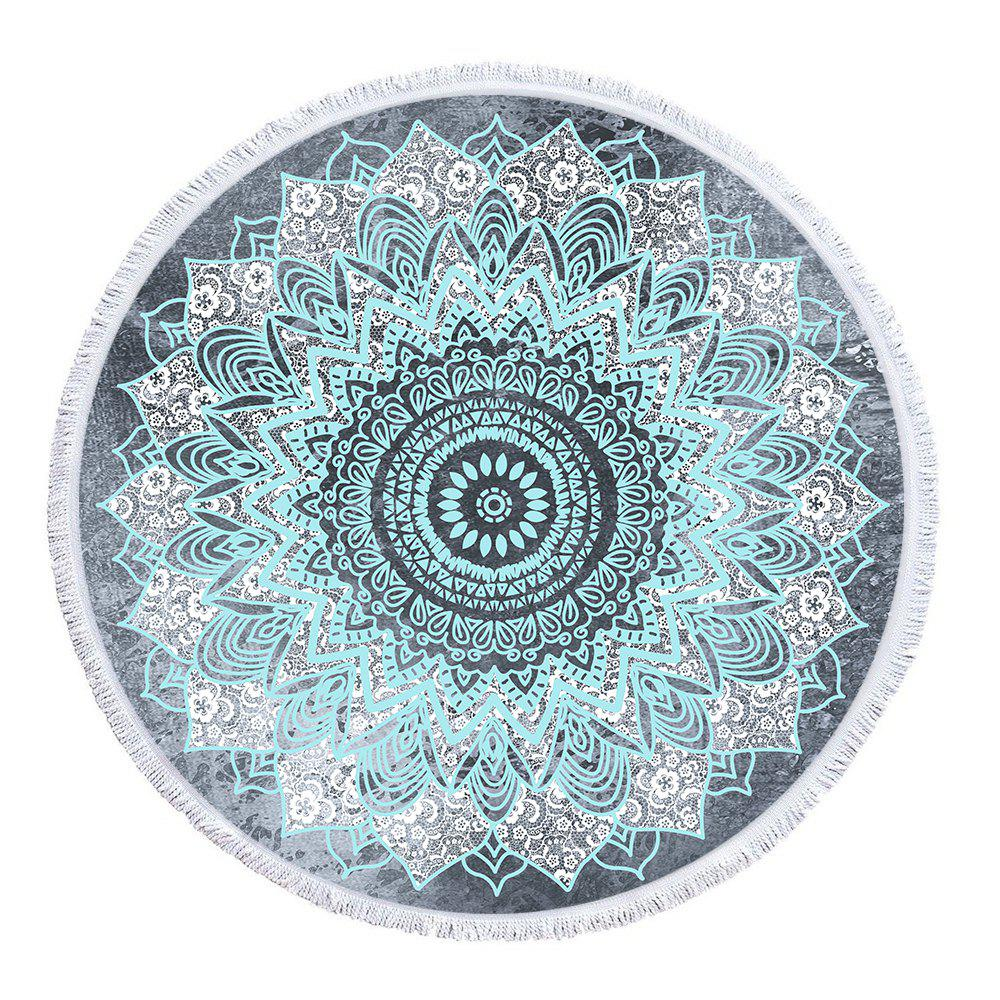 Blue Ash Mandala Beach Towel with Microfiber Tassel - multicolor 150CM