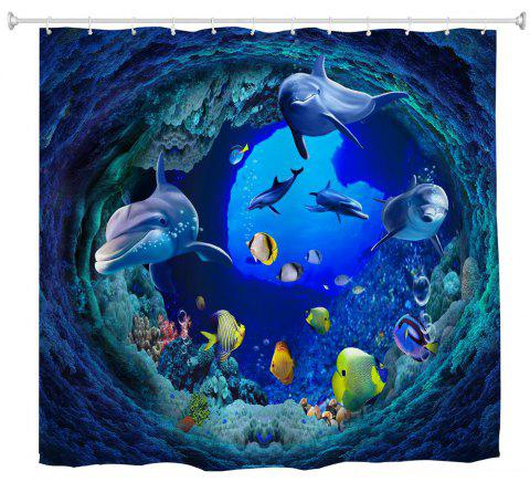 Tunnel Fish Water-Proof Polyester 3D Printing Bathroom Shower Curtain - multicolor W59 INCH * L71 INCH